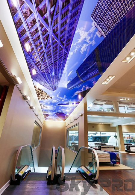 3D натяжной потолок в ресторане фото